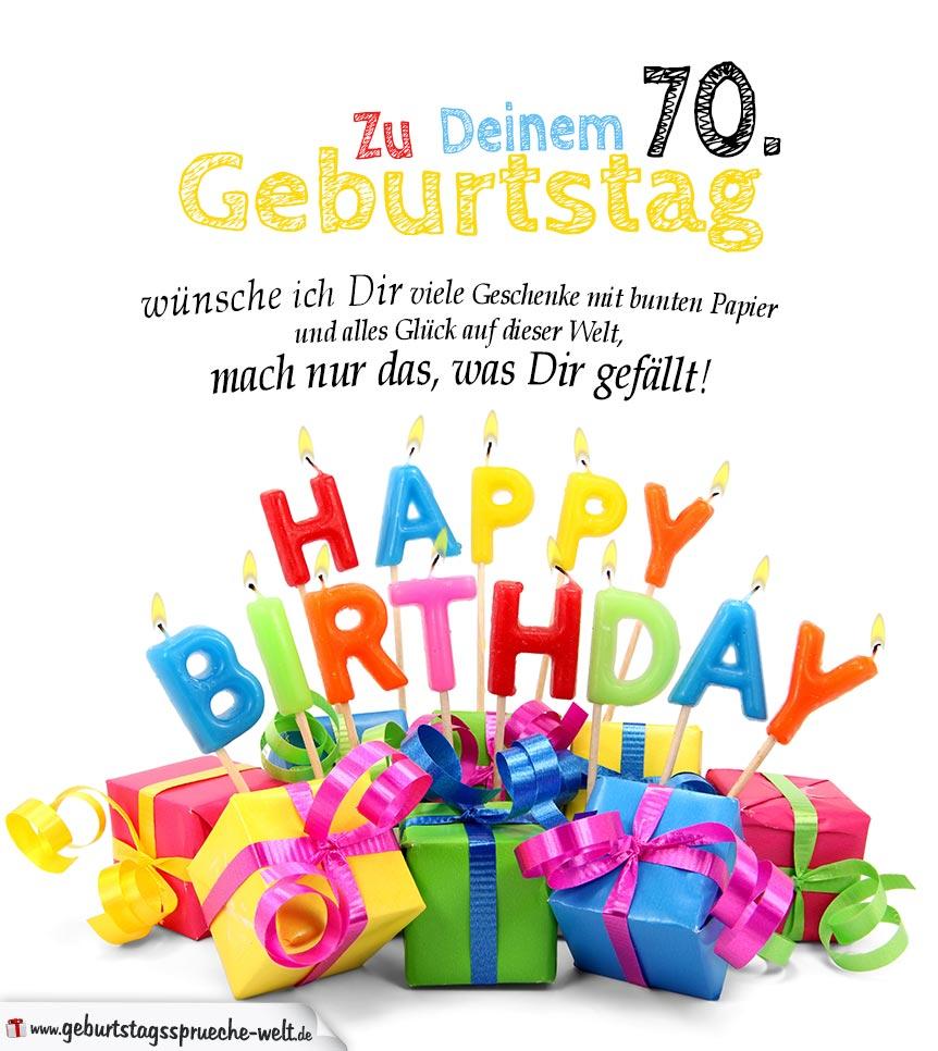 Schone Geburtstagskarte 70 Geburtstag Herzlichen Gluckwunsch