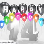 Geburtstagskarte für 14. Geburtstag