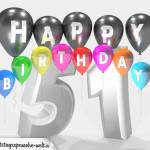 Geburtstagskarte für 51. Geburtstag