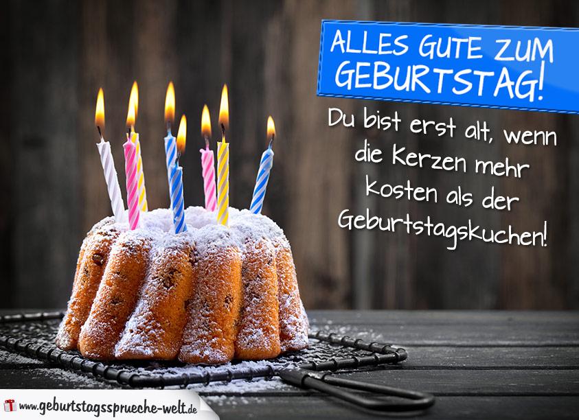 Geburtstagssprüche mit Kuchen und Kerzen - Geburtstagssprüche-Welt