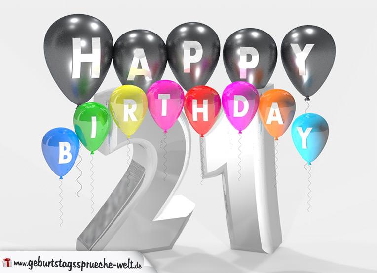 geburtstagssprüche zum 21. geburtstag happy birthday mit bunten