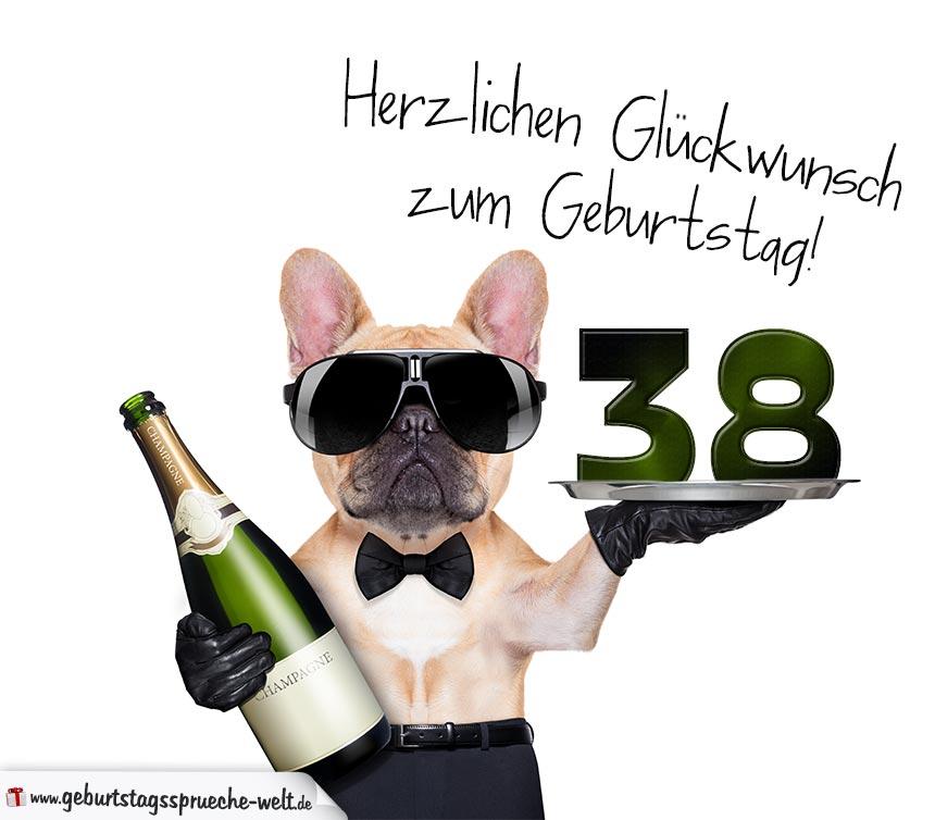Glückwunschkarte Mit Hund Zum 38 Geburtstag Geburtstagssprüche Welt