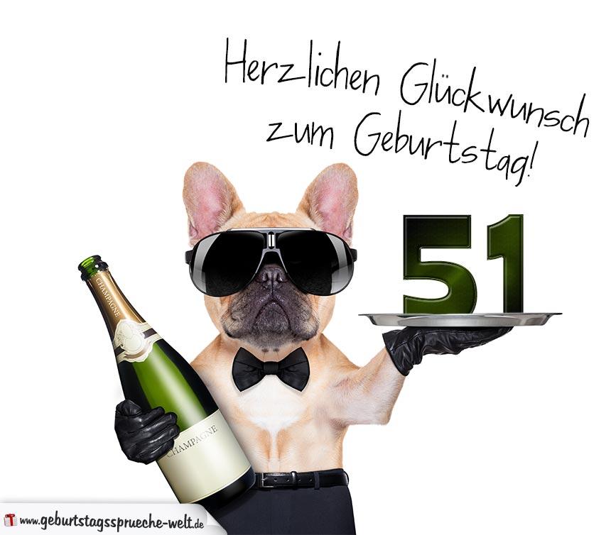Glückwunschkarte Mit Hund Zum 51 Geburtstag Geburtstagssprüche Welt