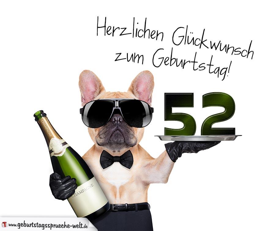 Glückwunschkarte Mit Hund Zum 52 Geburtstag