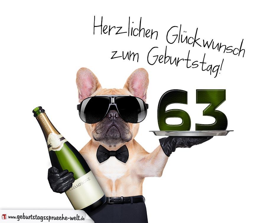Glückwunschkarte Mit Hund Zum 63 Geburtstag
