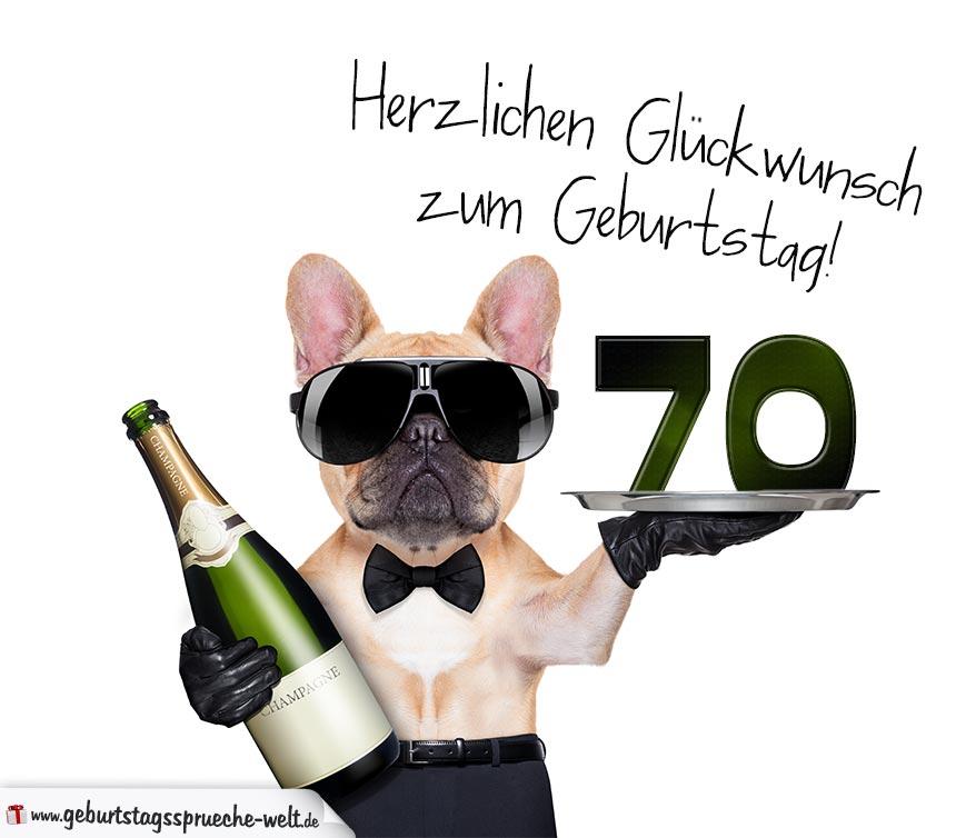 Glückwunschkarte Mit Hund Zum 70. Geburtstag