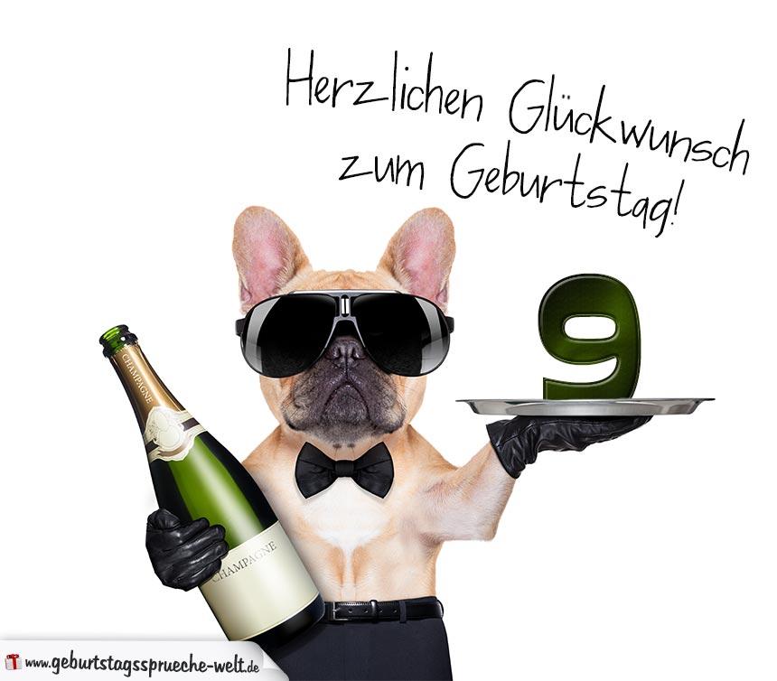 Gluckwunschkarte Mit Hund Zum 9 Geburtstag Geburtstagsspruche Welt