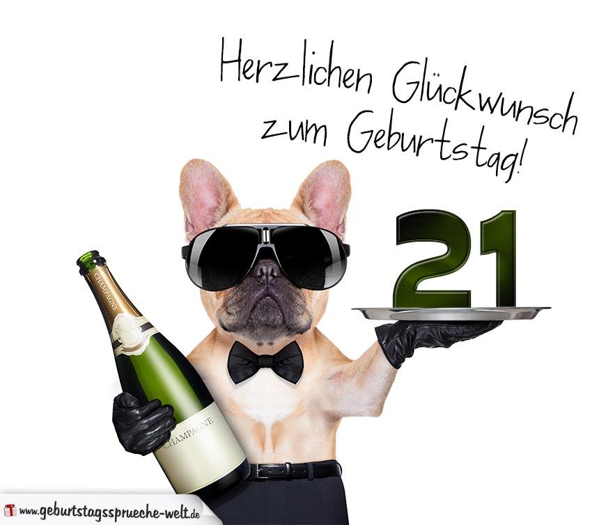 glückwunschkarte mit hund zum 21. geburtstag - geburtstagssprüche-welt