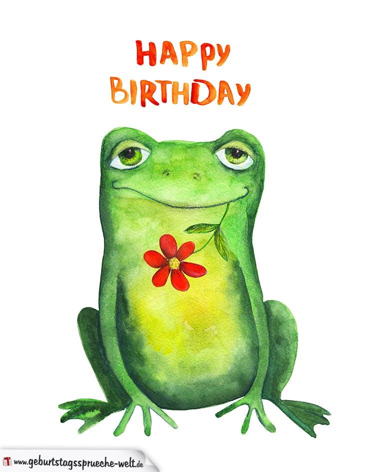 Happy Birthday Geburtstagskarte mit Froschmotiv