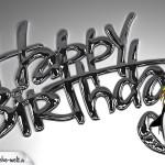 Chrome 3D-Schriftzug als coole Geburtstagskarte