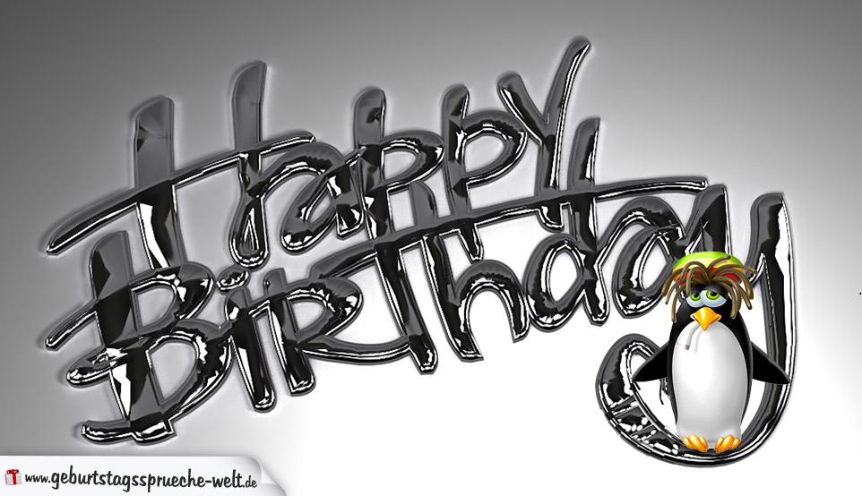 Happy Birthday Bild Mit Kiffendem Pinguin