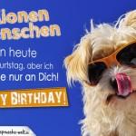Geburtstagskarte mit schönem Spruch und Hundemotiv