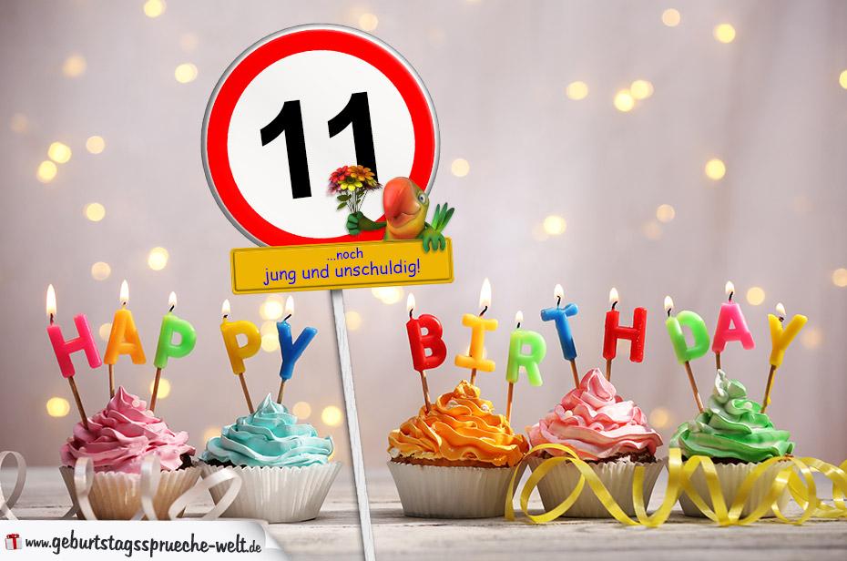 11. Geburtstag Geburtstagswünsche mit Schild und Alter auf Karte
