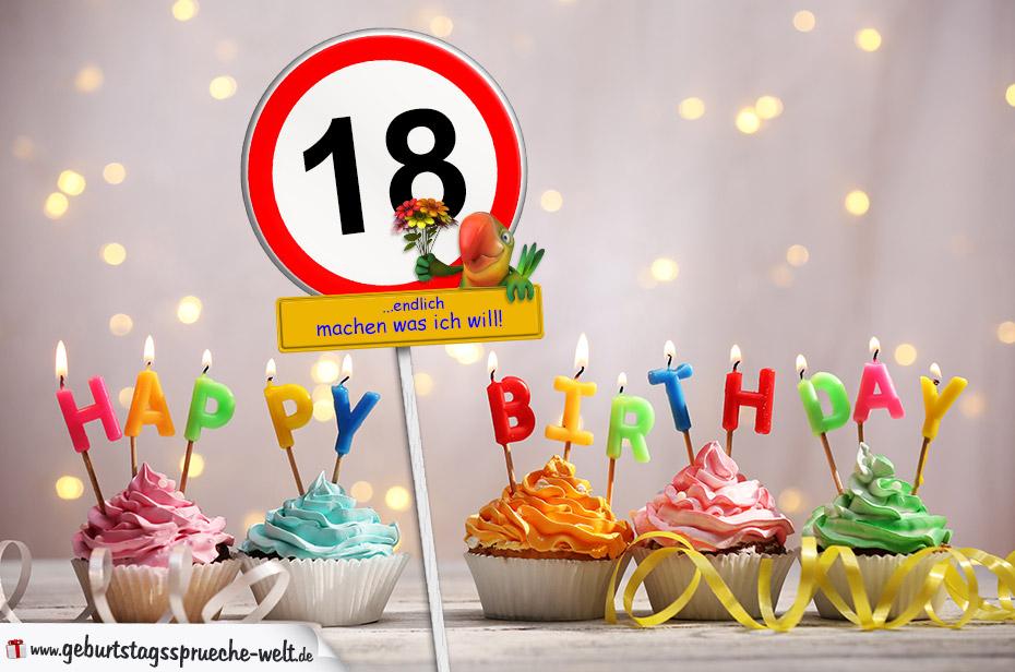 18. geburtstag geburtstagswünsche mit schild und alter auf karte