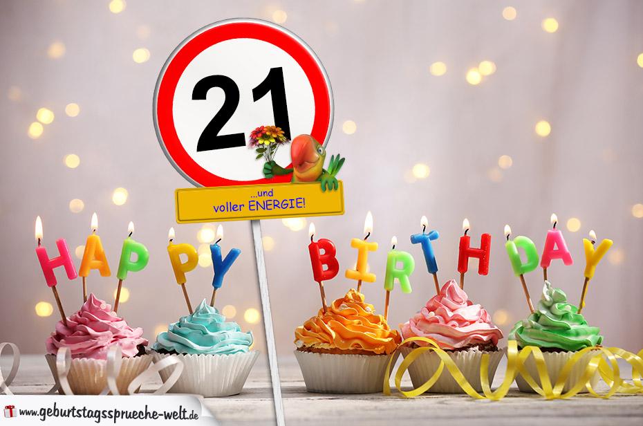 21. geburtstag geburtstagswünsche mit schild und alter auf karte