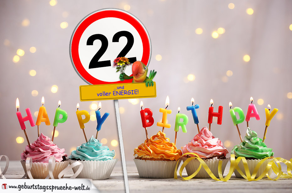 22. Geburtstag Geburtstagswünsche mit Schild und Alter auf Karte