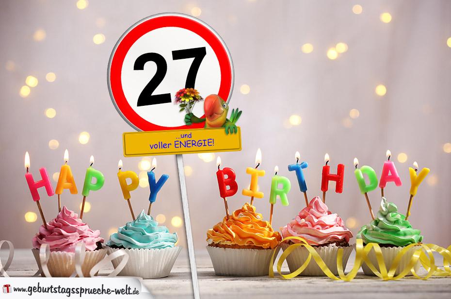 27 geburtstag geburtstagsw nsche mit schild und alter auf karte geburtstagsspr che welt - Geburtstagsbilder zum 25 ...