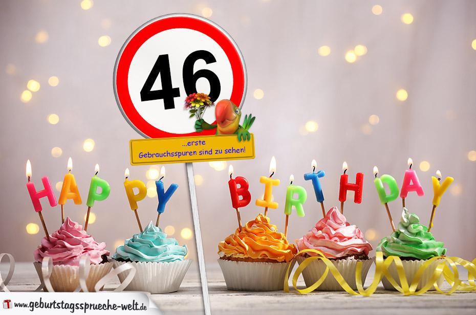 46. Geburtstag Geburtstagswünsche mit Schild und Alter auf ...