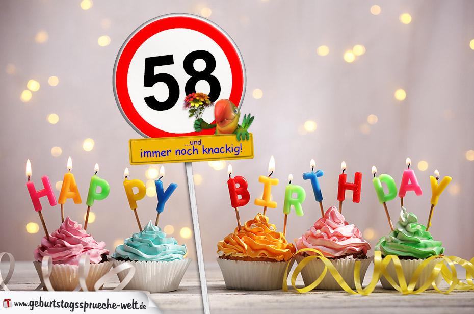 58. Geburtstag Geburtstagswünsche mit Schild und Alter auf