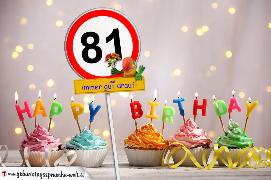 81. Geburtstag Geburtstagswünsche mit Schild und Alter auf Karte ...