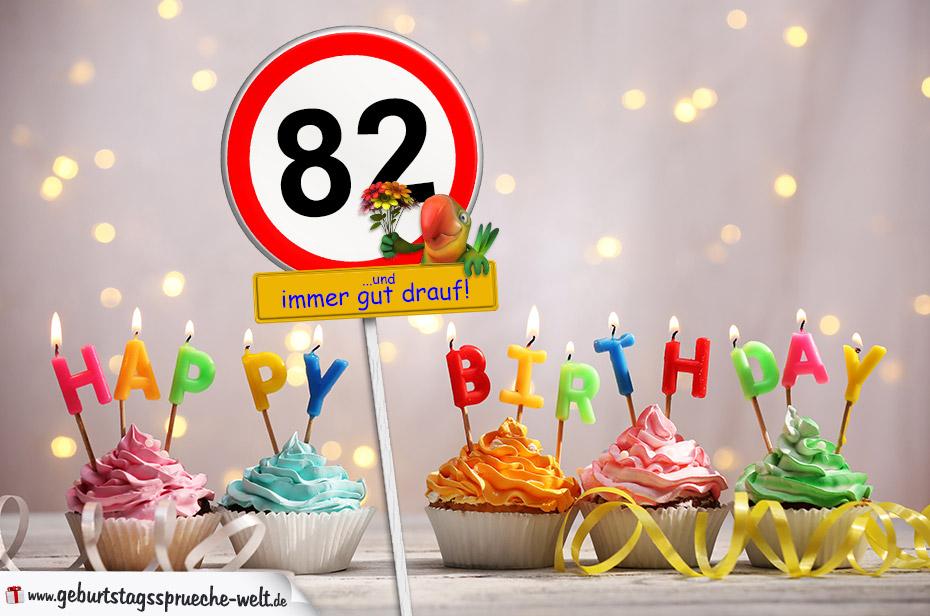 82. Geburtstag Geburtstagswünsche mit Schild und Alter auf Karte