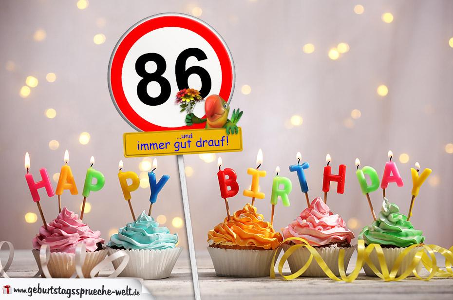Geburtstagssprüche Karte.86 Geburtstag Geburtstagswünsche Mit Schild Und Alter Auf Karte