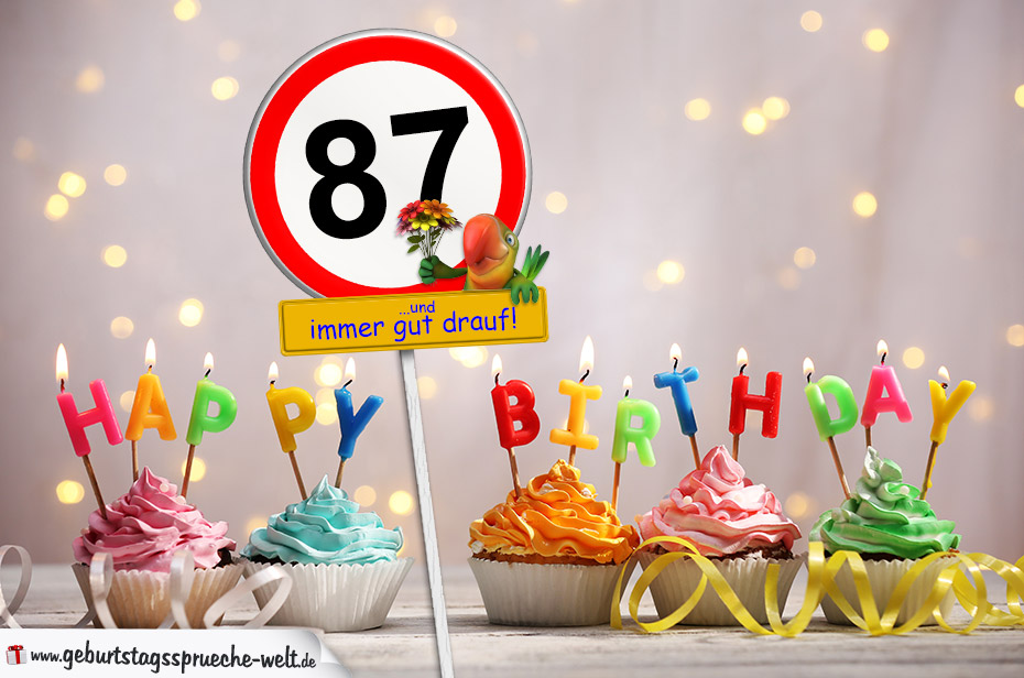 87. Geburtstag Geburtstagswünsche mit Schild und Alter auf Karte