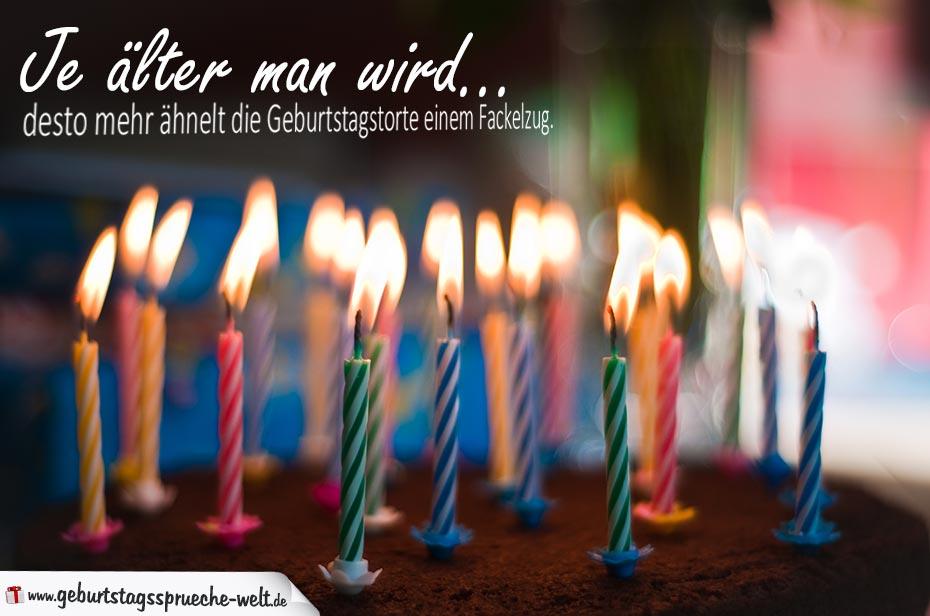 Lustiger Spruch Zum Geburtstag Fackelzug Auf Der Geburtstagstorte