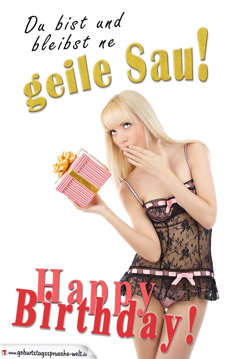 Sexy Geburtstagskarte für Männer mit hübscher Frau