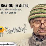 Alter, grimmig daher guckender Mann als Motiv für diese lustige Geburtstagskarte