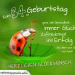 Geburtstagskarte mit Marienkäfer auf Regenschirm zum 34. Geburtstag