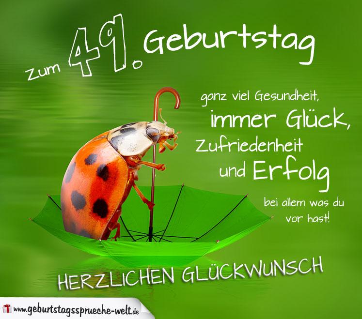 Glückwunschkarte Zum Geburtstag Mit Marienkäfer Auf Regenschirm