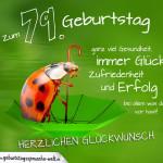 Geburtstagskarte mit Marienkäfer auf Regenschirm zum 79. Geburtstag