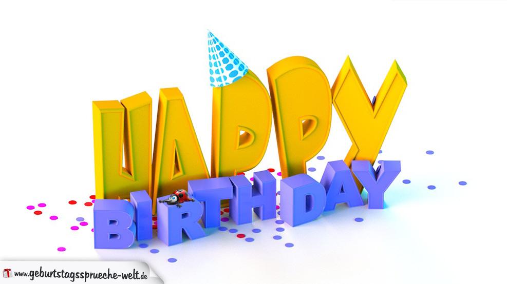 """Geburtstagskarte """"Happy Birthday"""" in Orange & Blau mit 3D-Buchstaben, Konfetti und Marienkäfer"""