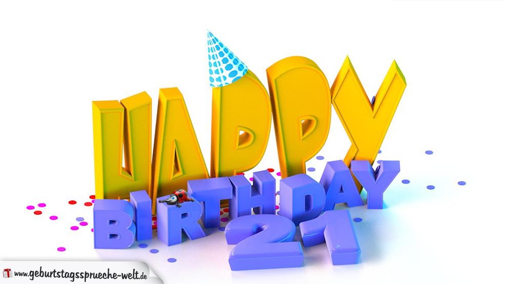 geburtstagsbild happy birthday zum 21. geburtstag