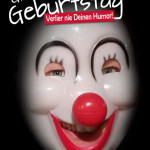 Geburtstagskarte mit Clown-Maske