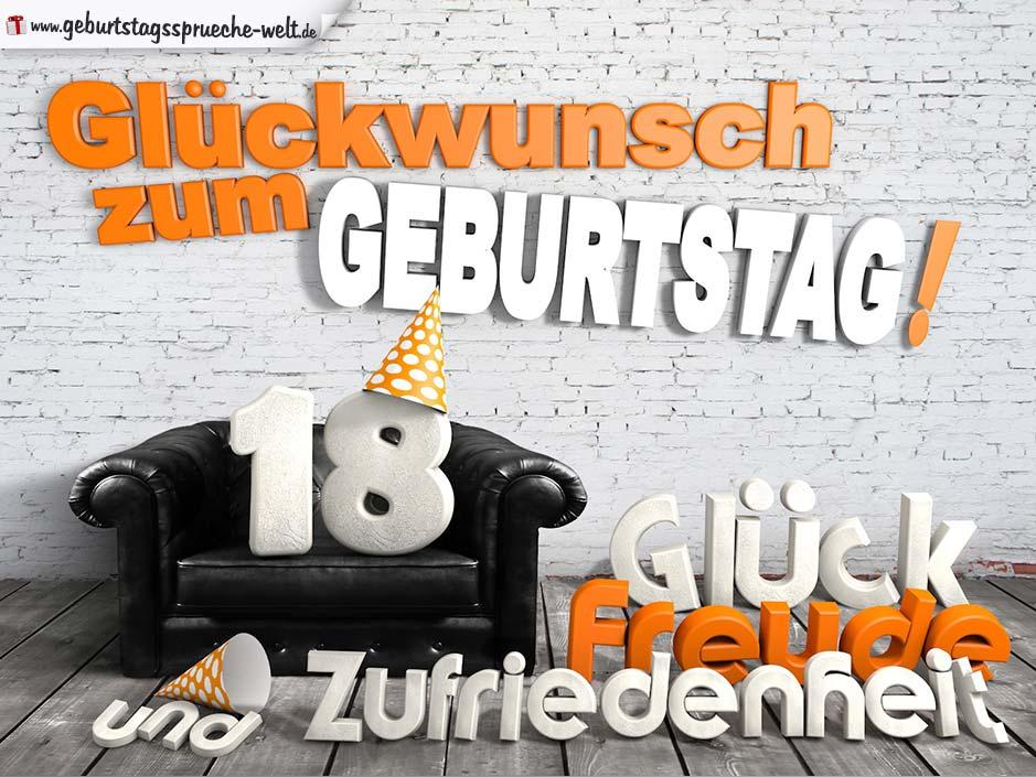 Glückwünsche Zum 18. Geburtstag Mit 3D Buchstaben Und Sofamotiv