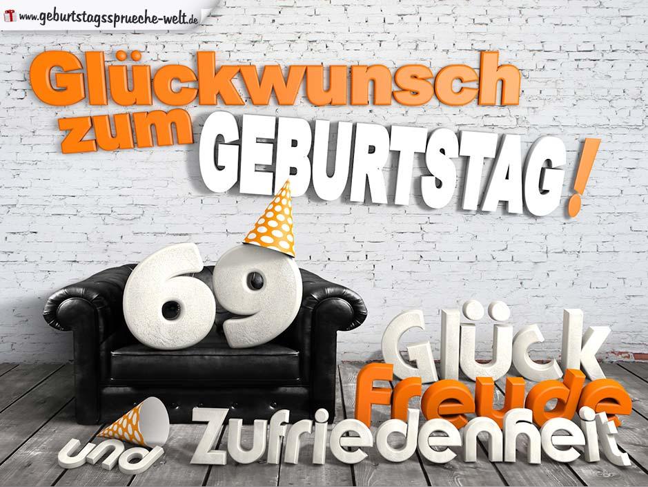 Gluckwunsche Zum 69 Geburtstag Mit 3d Buchstaben Und Sofamotiv
