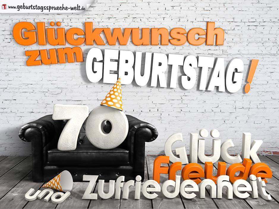 Glückwünsche Zum 70. Geburtstag Mit 3D Buchstaben Und Sofamotiv