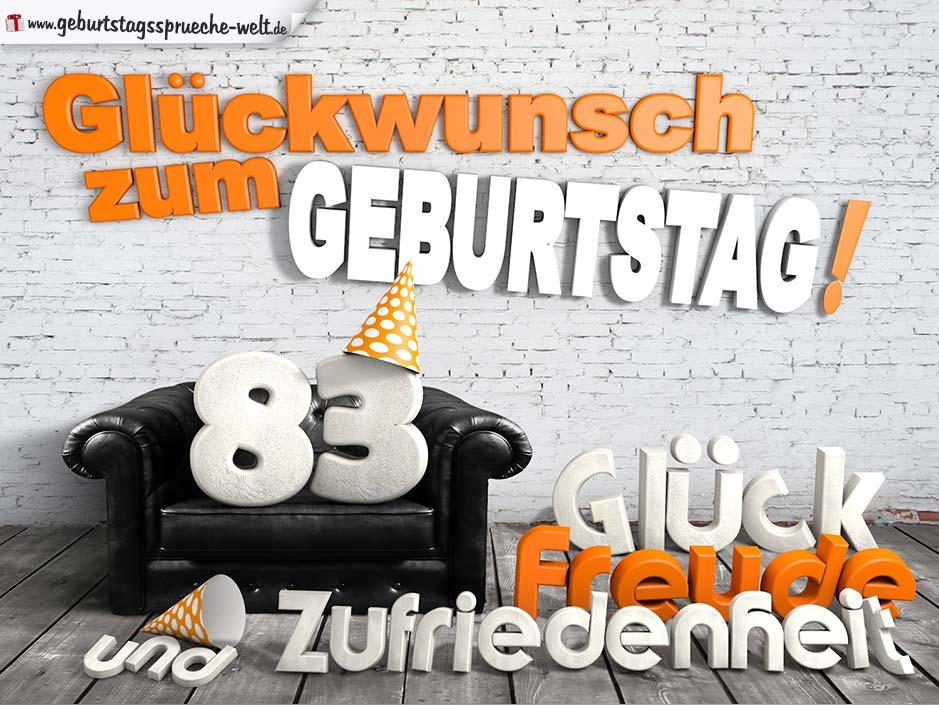 Gluckwunsche Zum 83 Geburtstag Mit 3d Buchstaben Und Sofamotiv