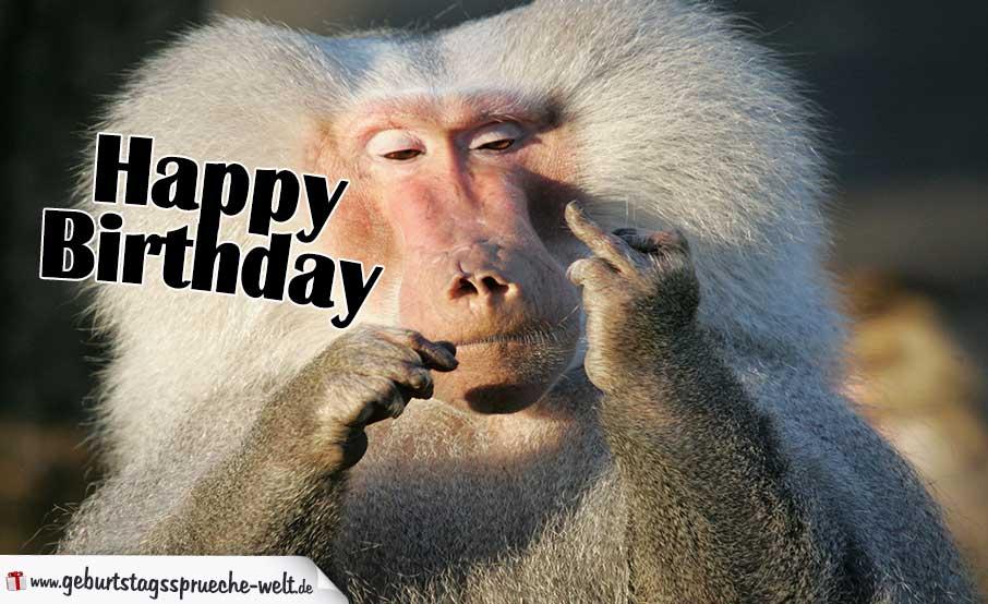 Happy Birthday Lustig Affe Mit Stinkefinger Geburtstagssprüche Welt