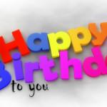 Bunte 3D-Geburtstagskarte als Glückwunsch zum Geburtstag