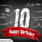 Komplimente und Sprüche zum 10. Geburtstag auf Tafel geschrieben
