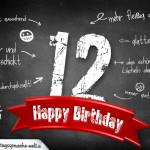 Komplimente und Sprüche zum 12. Geburtstag auf Tafel geschrieben