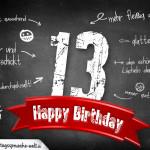 Komplimente und Sprüche zum 13. Geburtstag auf Tafel geschrieben