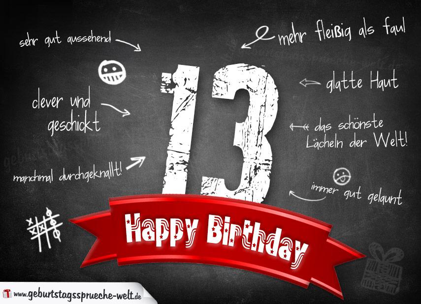 Komplimente Geburtstagskarte Zum 13 Geburtstag Happy Birthday