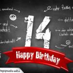 Komplimente und Sprüche zum 14. Geburtstag auf Tafel geschrieben