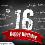 Komplimente und Sprüche zum 16. Geburtstag auf Tafel geschrieben