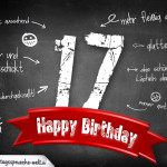 Komplimente und Sprüche zum 17. Geburtstag auf Tafel geschrieben