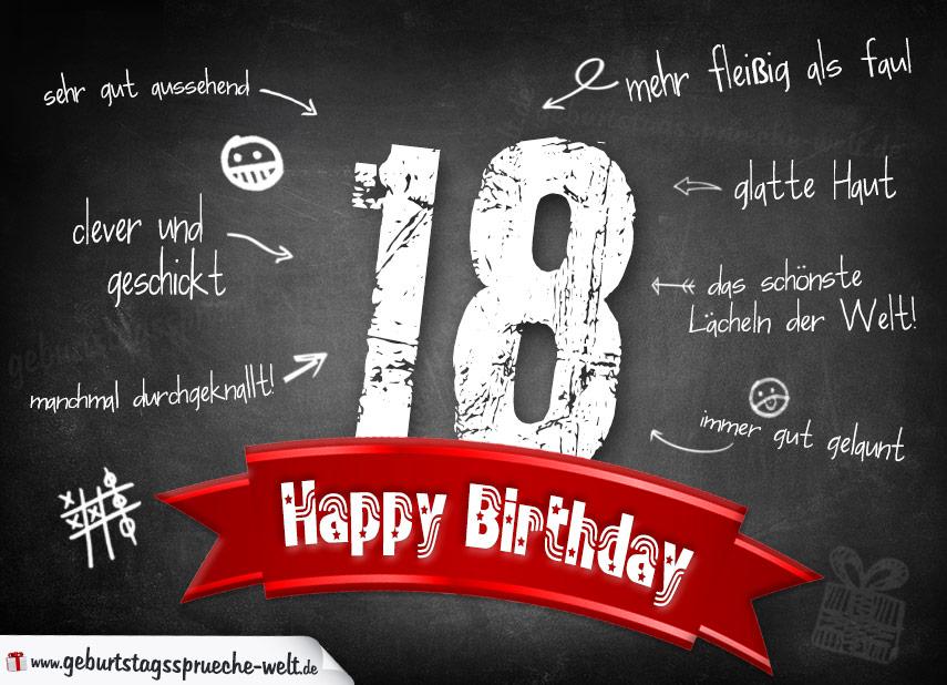 komplimente geburtstagskarte zum 18. geburtstag happy birthday